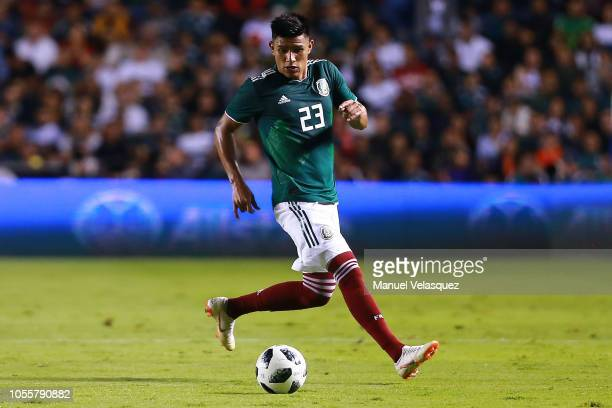 Jesus Gallardo of Mexico controls the ball during the international friendly match between Mexico and Chile at La Corregidora Stadium on October 16...