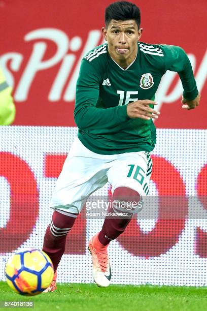 Jesus Gallardo of Mexico controls the ball during the International Friendly match between Poland and Mexico at Energa Arena Stadium on November 13...