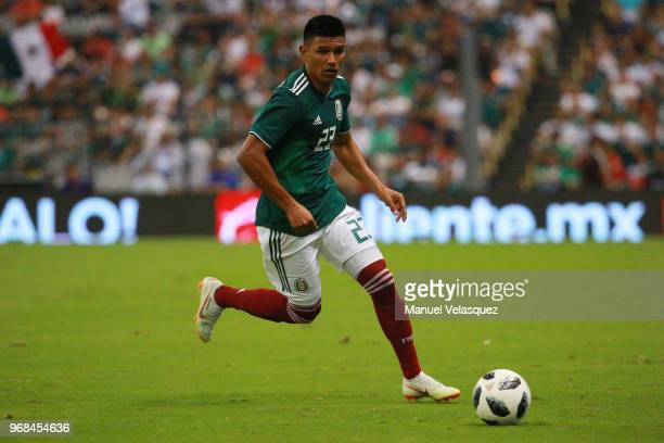 Jesus Gallardo of Mexico controls the ball during the International Friendly match between Mexico and Scotland at Estadio Azteca on June 2 2018 in...
