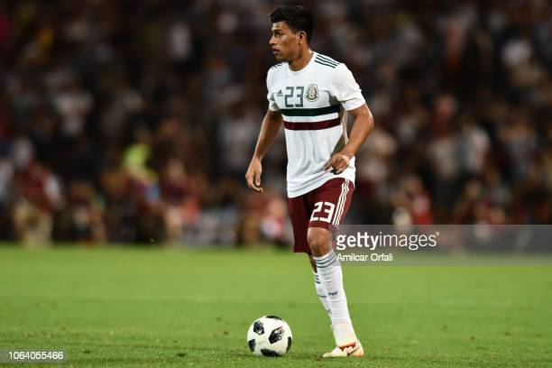 Jesus Gallardo of Mexico drives the ball during a friendly match between Argentina and Mexico at Malvinas Argentinas Stadium on November 20 2018 in...