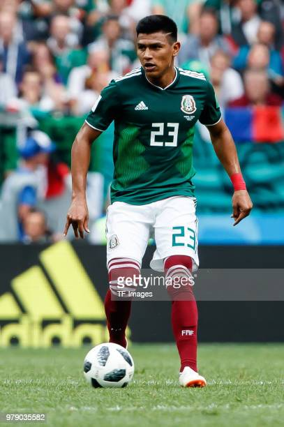 Jesus Gallardo of Mexico in action during the 2018 FIFA World Cup Russia group F match between Germany and Mexico at Luzhniki Stadium on June 17 2018...