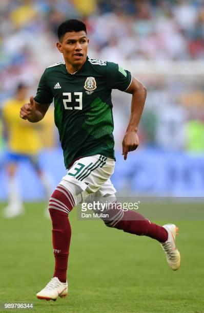 Jesus Gallardo of Mexico in action during the 2018 FIFA World Cup Russia Round of 16 match between Brazil and Mexico at Samara Arena on July 2 2018...