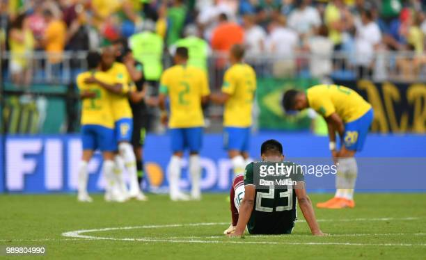 Jesus Gallardo of Mexico looks dejected following his sides defeat in the 2018 FIFA World Cup Russia Round of 16 match between Brazil and Mexico at...
