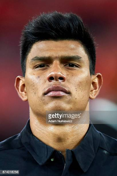 Jesus Gallardo of Mexico looks forward while national anthem during the International Friendly match between Poland and Mexico at Energa Arena...