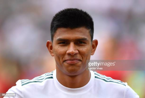 Jesus Gallardo of Mexico looks on prior to the 2018 FIFA World Cup Russia group F match between Korea Republic and Mexico at Rostov Arena on June 23...