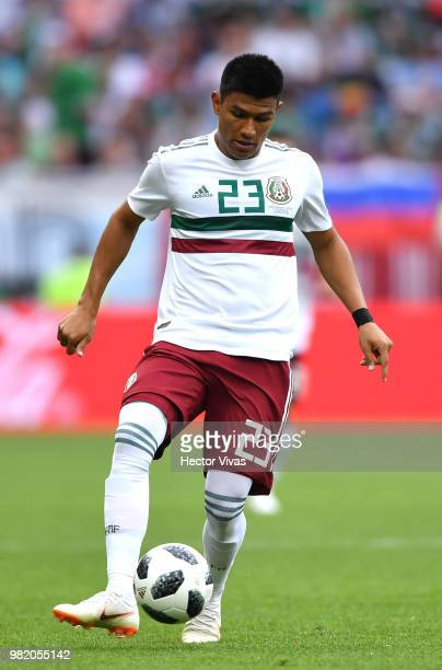 Jesus Gallardo of Mexico passes the ball during the 2018 FIFA World Cup Russia group F match between Korea Republic and Mexico at Rostov Arena on...