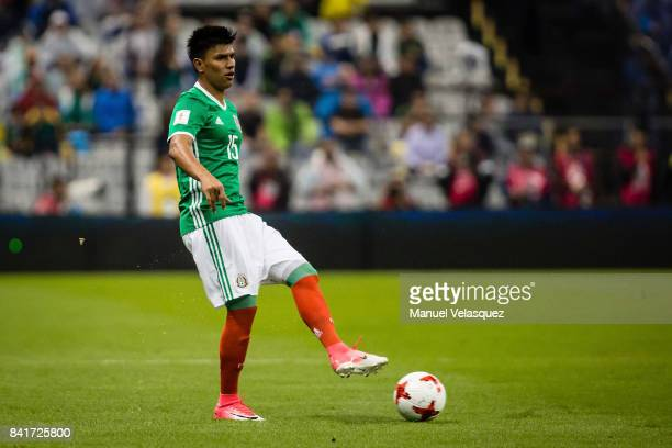 Jesus Gallardo of Mexico passes the ball during the match between Mexico and Panama as part of the FIFA 2018 World Cup Qualifiers at Estadio Azteca...