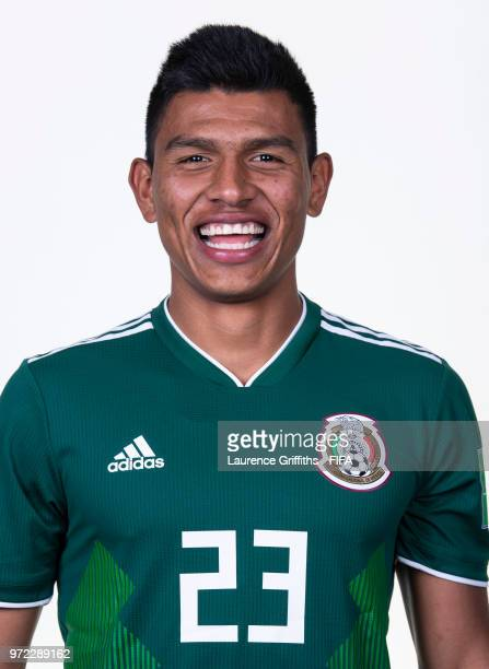 Jesus Gallardo of Mexico poses for a portrait during the official FIFA World Cup 2018 portrait session at the Team Hotel on June 12 2018 in Moscow...