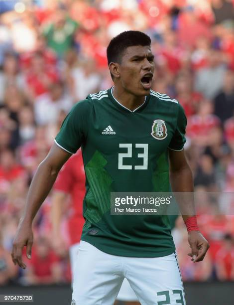 Jesus Gallardo of Mexico reacts during International Friendly match between Denmark v Mexico at Brondby Stadion on June 9 2018 in Brondby Denmark