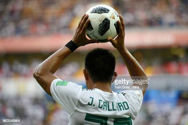 Jesus Gallardo of Mexico takes a throw in during the 2018 FIFA World Cup Russia group F match between Korea Republic and Mexico at Rostov Arena on...