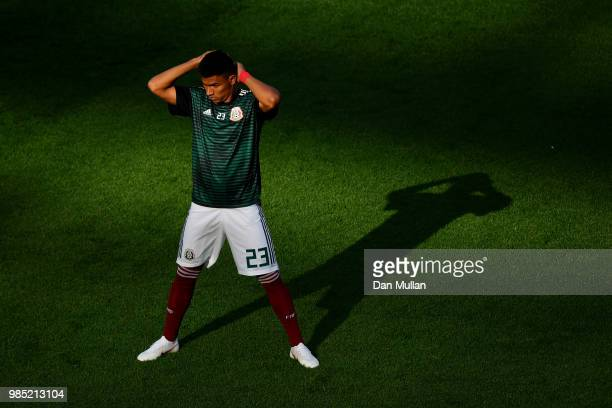 Jesus Gallardo of Mexico warms up prior to the 2018 FIFA World Cup Russia group F match between Mexico and Sweden at Ekaterinburg Arena on June 27...