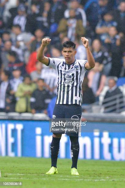 Jesus Gallardo of Monterrey celebrates after scoring his team's first goal during the 13th round match between Monterrey and Toluca as part of the...