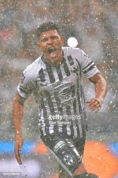 Jesus Gallardo of Monterrey celebrates after scoring his team's third goal during the 11th round match between Monterrey and Tijuana as part of the...