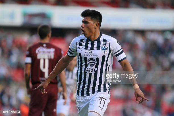 Jesus Gallardo of Monterrey celebrates after scoring the first goal of his team during the third round match between Queretaro and Monterrey as part...