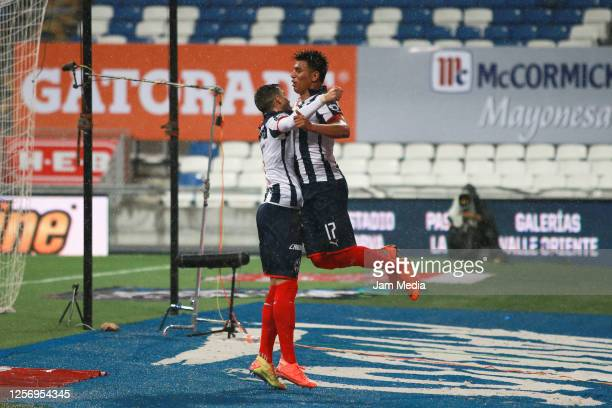 Jesus Gallardo of Monterrey celebrates with Rogelio Funes Mori during the friendly match between Monterrey and Santos Lagunas at BBVA Stadium on July...