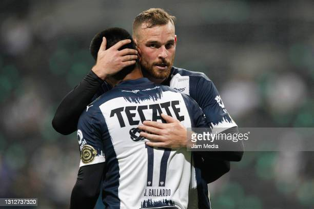 Jesus Gallardo of Monterrey celebrates with Vincent Janssen after scoring the third goal of his team during a second leg match between Monterrey and...