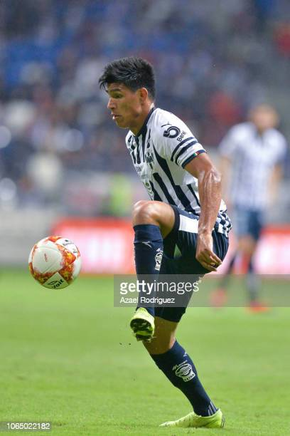 Jesus Gallardo of Monterrey controls the ball during the 17th round match between Monterrey and Atlas as part of the Torneo Apertura 2018 Liga MX at...
