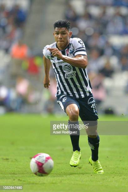 Jesus Gallardo of Monterrey drives the ball during the 13th round match between Monterrey and Toluca as part of the Torneo Apertura 2018 Liga MX at...
