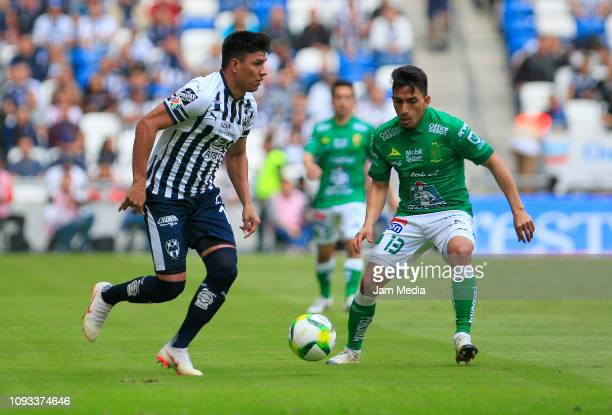 Jesus Gallardo of Monterrey fights for the ball with Angel Mena of Leon during the 2nd round match between Monterrey and Leon as part of the Torneo...
