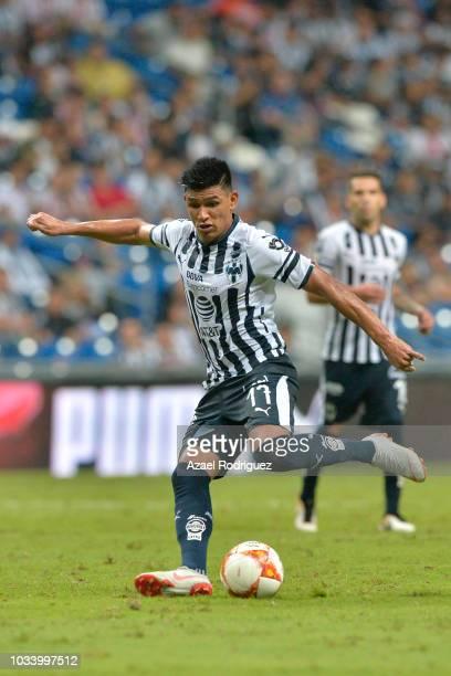 Jesus Gallardo of Monterrey kicks the ball during the 9th round match between Monterrey and Chivas as part of the Torneo Apertura 2018 Liga MX at...