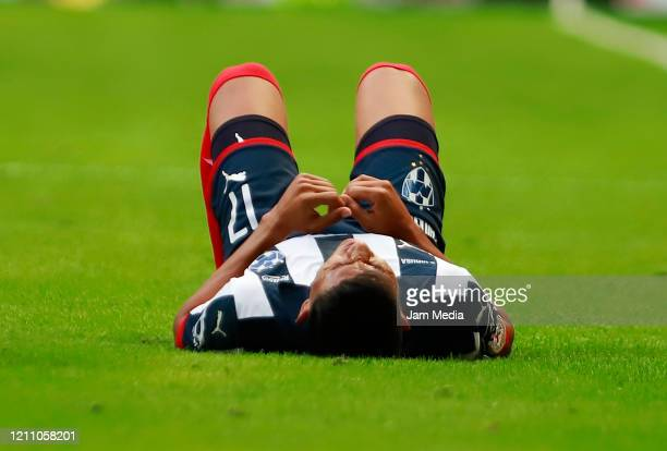 Jesus Gallardo of Monterrey laments during the 9th round match between Monterrey and Atletico San Luis as part of the Torneo Clausura 2020 Liga MX at...