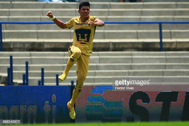 Jesus Gallardo of Pumas celebrates after scoring the fifth goal of his team during the 6th round match between Pumas UNAM and Monterrey as part of...