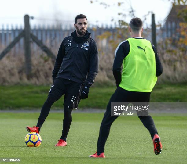 Jesus Gamez controls the ball during the Newcastle United Training session at the Newcastle Untied Training Centre on November 9 2017 in Newcastle...
