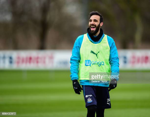 Jesus Gamez laughs during the Newcastle United Training Session at The Newcastle United Training Centre on March 22, 2017 in Newcastle upon Tyne,...