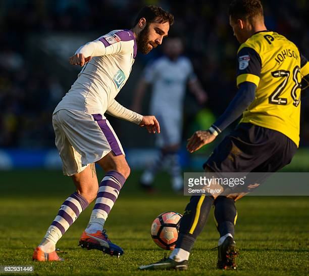 Jesus Gamez of Newcastle United controls the ball whilst Marvin Johnson of Oxford United looks to challenge during The Emirates FA Cup Fourth Round...