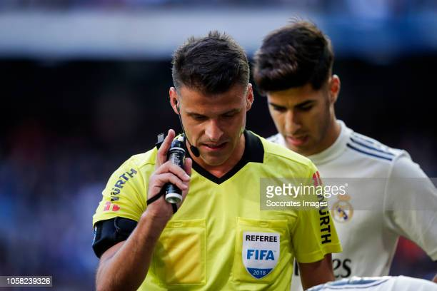 Jesus Gil Manzano referee during the La Liga Santander match between Real Madrid v Real Valladolid at the Santiago Bernabeu on November 3 2018 in...