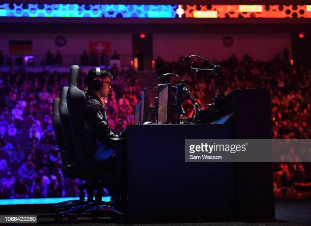 Jesus 'Gimmick' Parra of team Cloud9 competes during the grand finals match of the Rocket League Championship Series World Championship against team...