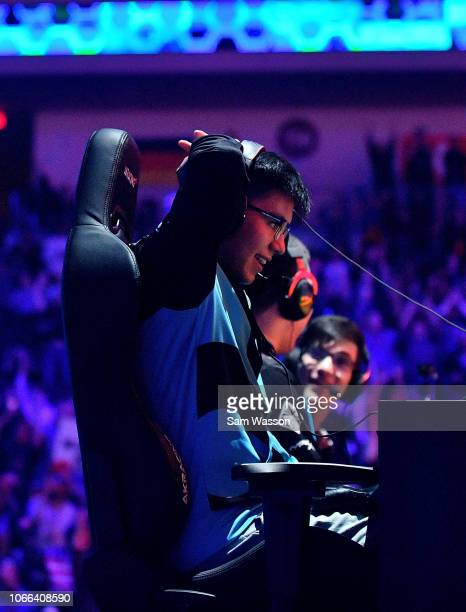 Jesus 'Gimmick' Parra of team Cloud9 reacts as he realizes his team will defeat team Dignitas in the grand finals match of the Rocket League...
