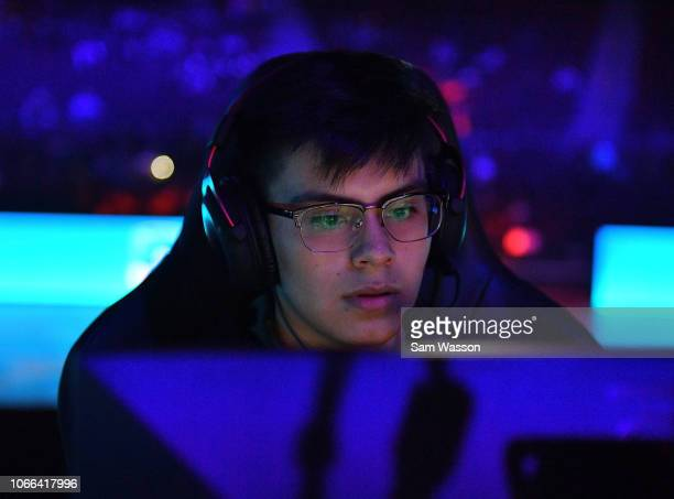 Jesus 'Gimmick' Parra of team Cloud9 sits at his station before the grand finals match of the Rocket League Championship Series World Championship...