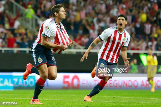 Jesus Godinez of Chivas celebrates after scoring the first goal of his team during the 10th round match between Chivas and America as part of the...
