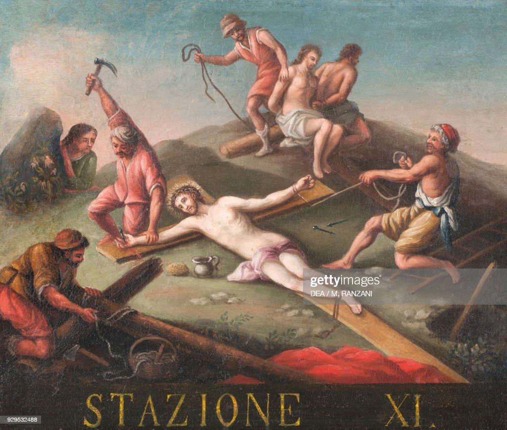 Jesus\' hands and feet nailed to cross, Lombardy Pictures | Getty Images