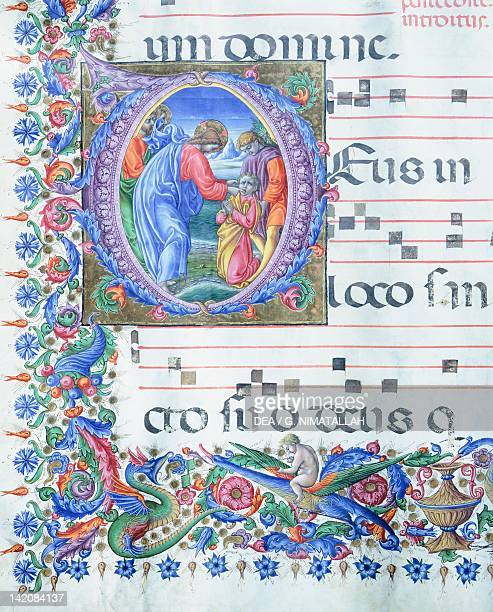Jesus healing the man who was deaf and dumb miniature by Liberale of Verona from a gradual Italy 15th Century