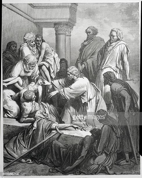 Jesus healing the sick from an old engraving by Gustave Dore' BPA2# 2998