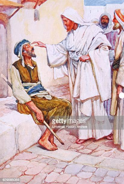 Jesus heals a blind man illustration by Arthur A Dixon 18721959 From the Precious Gift Bible Stories for Children by T W Wilson