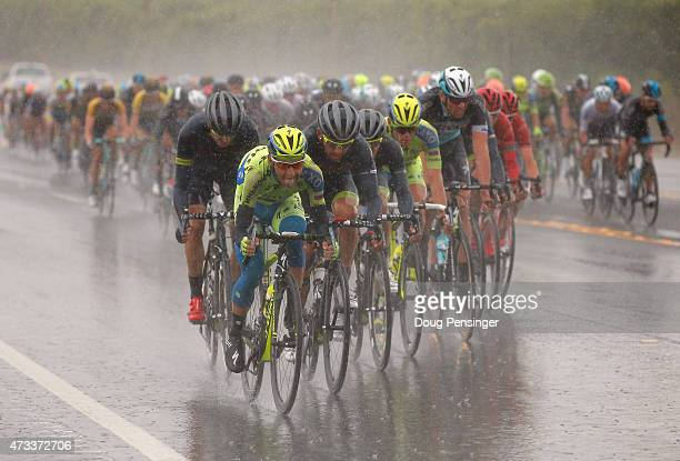 Jesus Hernandez Blazquez of Spain riding for TinkoffSaxo drives the peloton in the rain as they pursue the breakaway late in race during stage five...