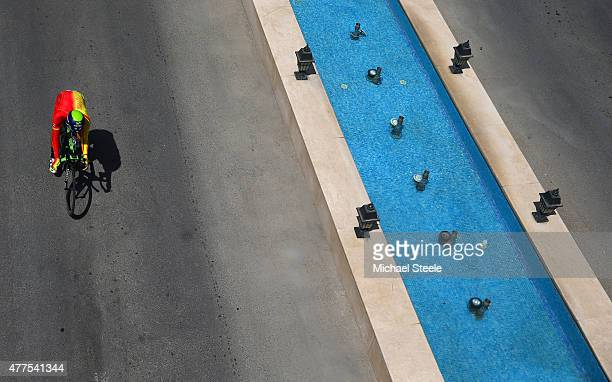 Jesus Herrada Lopez of Spain competes in the Men's Road cycling Individual Time trial during day six of the Baku 2015 European Games at Bilgah Beach...