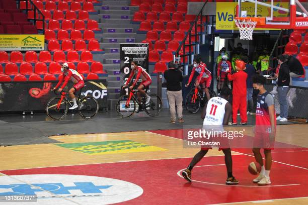 Jesus Herrada Lopez of Spain & Ruben Fernandez Andujar of Spain and Team Cofidis at start in Spirou Basket Charleroi Club's court in Charleroi City...