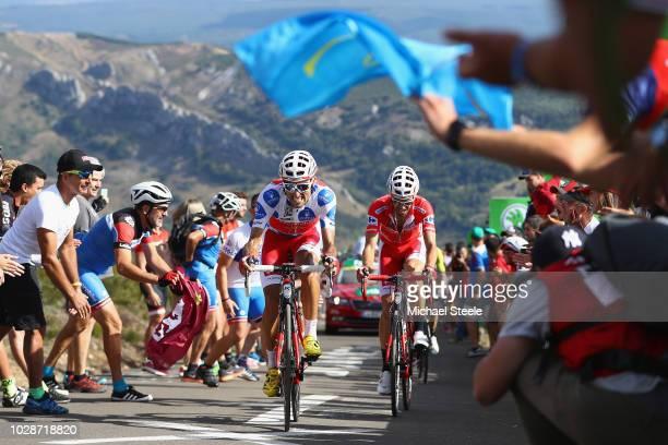 Jesus Herrada of Spain and Team Cofidis Red Leader Jersey / Luis Angel Mate of Spain and Team Cofidis Polka Dot Mountain Jersey / Alto de la...