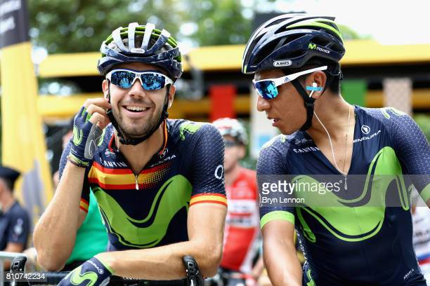 Jesus Herrada of Spain and Team mates, Nairo Quintana of Columbia and Team Movistar speak during stage eight of the 2017 Le Tour de France, a 187.5km...