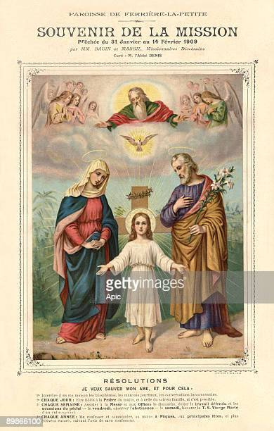 Jesus in ron tof the Cross with spines crown with Virgin Mary and Joseph in presence of Holy Spirit and God the Father french illustration 1909