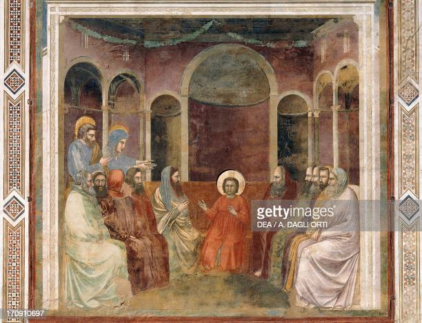 Jesus in the Temple among the Doctors by Giotto detail from the cycle of frescoes Life and Passion of Christ 13031305 after the restoration in 2002...