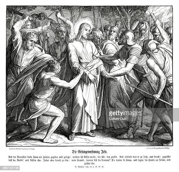 Jesus is betrayed by Judas Iscariot Gospel of Matthew chapter XXVI verses 48 50 'Now he that betrayed him gave them a sign saying Whomsoever I shall...