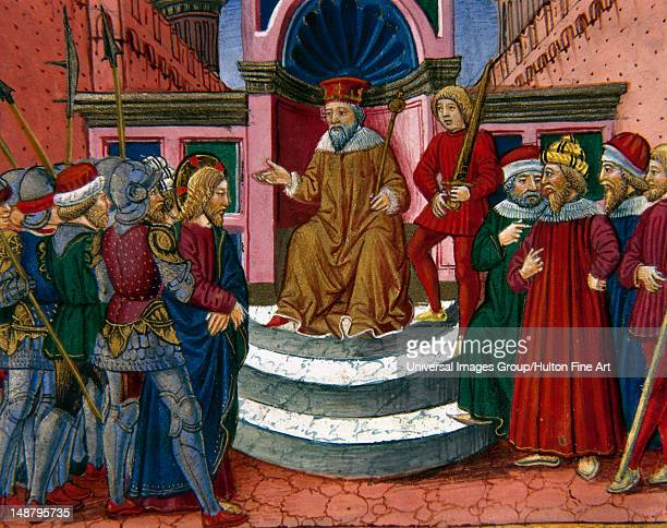 Jesus is brought before Herod Codex of Predis Royal Library Turin Italy