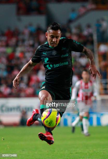 Jesus Isijara of Santos drives the ball during the 10th round match between Necaxa and Santos Laguna as part of the Torneo Clausura 2018 Liga MX at...