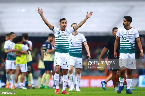 Jesus Isijara of Santos Laguna celebrates after winning the semifinals second leg match between America and Santos Laguna as part of the Torneo...