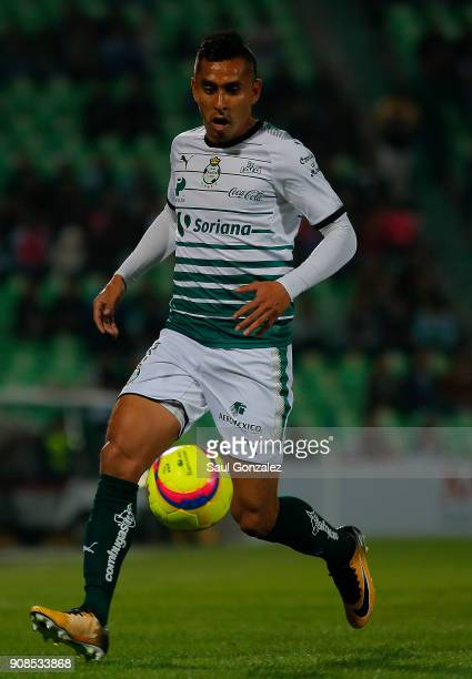 Jesus Isijara of Santos plays the ball during the 3rd round match between Santos Laguna and Morelia as part of the Torneo Clausura 2018 Liga MX at...